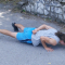 One arm push up bottom position