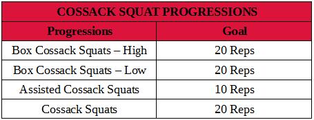 Cossack squat progressions