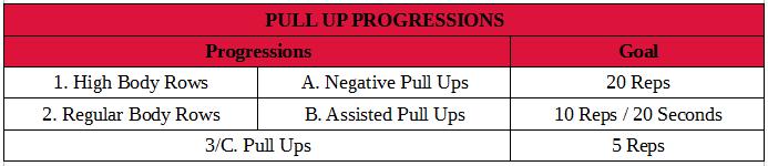 Pull Up Progressions
